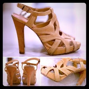 MISS SIXTY suede stacked heel sandal in bluff